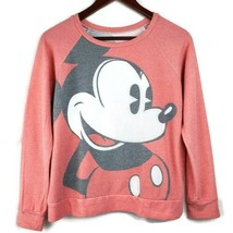 Disney Mickey Mouse Juniors Sweatshirt S Faded Red Graphic Long Sleeve S... - $19.99