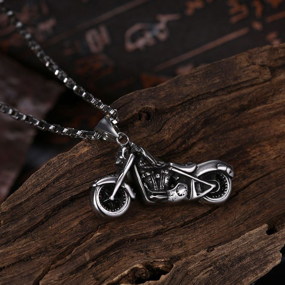 Skeleton Motorcycle Stainless Steel Handmade Necklace Pendant Fashion Jewelry image 5