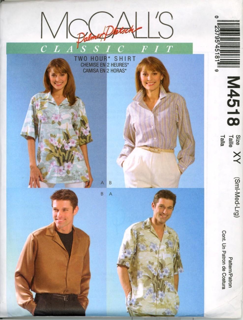 Men Women Boys Hawaiian Shirt Sewing Pattern Size S M L UNC