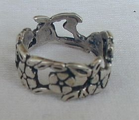 Silver flower ring A