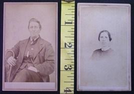 CDV Carte De Viste Photo Lot (2) Man w/Cane & Lady c.1859-80 - $3.20
