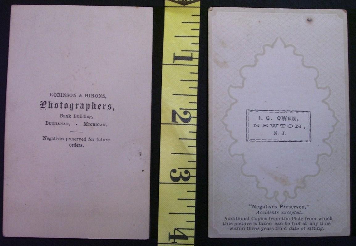 CDV Carte De Viste Photo Lot (2) Man w/Cane & Lady c.1859-80