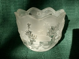 MIKASA HOLIDAY CLASSICS SANTA VOTIVE FROSTED GLASS CANDLE HOLDER - NEW!  image 2