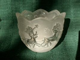 MIKASA HOLIDAY CLASSICS SANTA VOTIVE FROSTED GLASS CANDLE HOLDER - NEW!  image 3