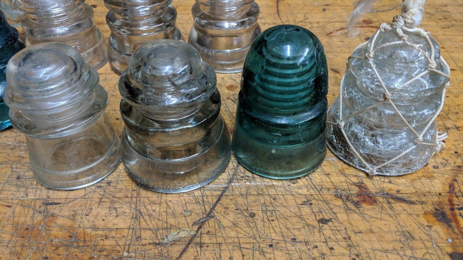 Lot of 17 Vintage Antique Glass insulators Hemingray tatum
