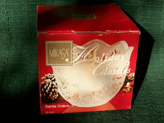 MIKASA HOLIDAY CLASSICS SANTA VOTIVE FROSTED GLASS CANDLE HOLDER - NEW!  image 6