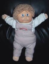 Cabbage Patch Kids Coleco Beige Curls '84 Boy in Original CPK Logo Knit Overalls - $12.95