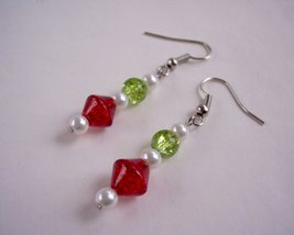 Christmas Drop Earrings Red green and White - $9.50