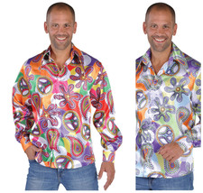 70's Pimp / Hippy Shirt , Peace Sign  Shirt with big Collar - $31.37