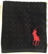 Ralph Lauren Black Cable Bath Towel Large Red Polo Pony Motif RRP £65 - $64.80