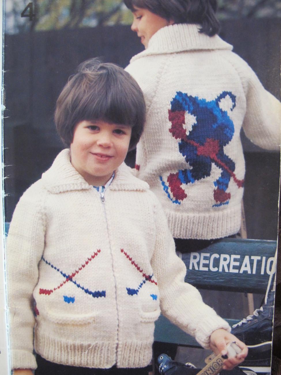 Vintage Beehive Knitting Patterns Skier Hockey Dog Horse Sweaters CHILDREN