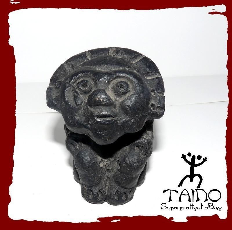 TAINO INDIAN GOD OF THE SUN CERAMIC FIRE HOME SCULPTURE