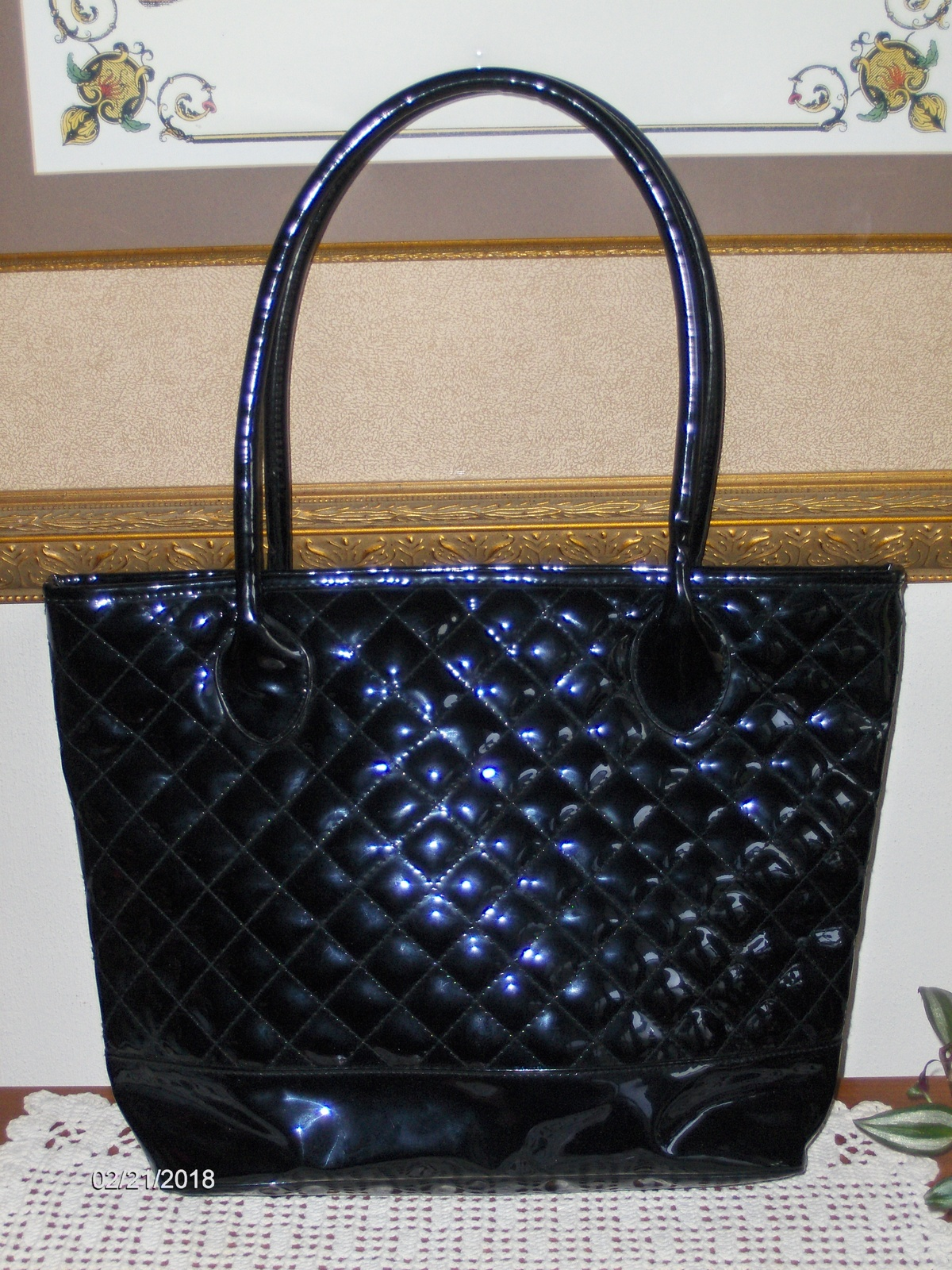 Nordstrom Black Tote Bag Quilted Shopper Handbag Satchel Purse Large