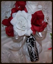 10pc  Wedding bridal bouquet SILK flowers red white black damask CUSTOM ORDERS - $117.81