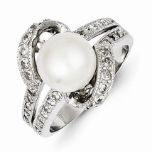 STERLING SILVER POLISHED SIMULATED PEARL AND CZ RING - 3mm WIDTH - SIZE 7 - £29.16 GBP