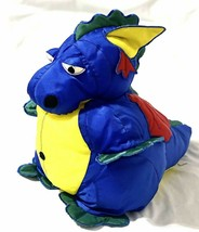 "Manhattan Toy Dragon w/ Wings Nylon Blue Yellow Plush 22"" Long 1992 Vintage - $35.63"