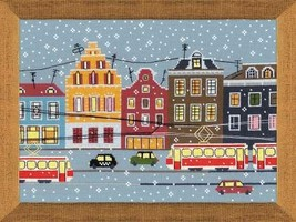Cross Stitch Kit Riolis Landscape City Tram Route - $34.80
