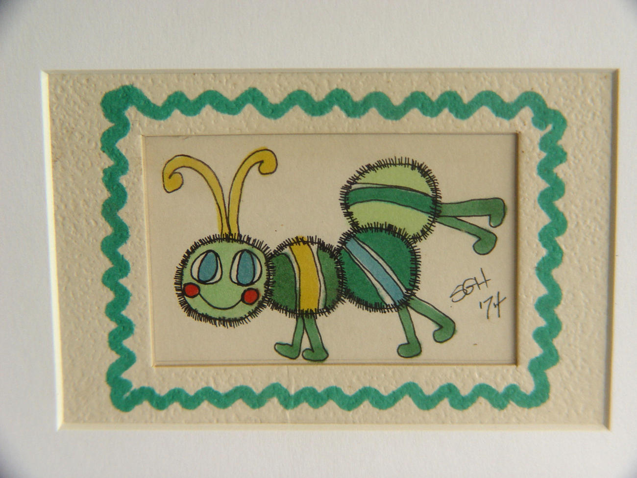 "Cute Framed and Matted ""DoodleBug""Watercolor Sketch by Susan Hale"