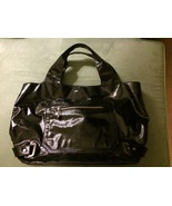 Vintage 2004 MAXX NY Black Pebble Patent Leather Weekender Tote Style #114 - $110.00