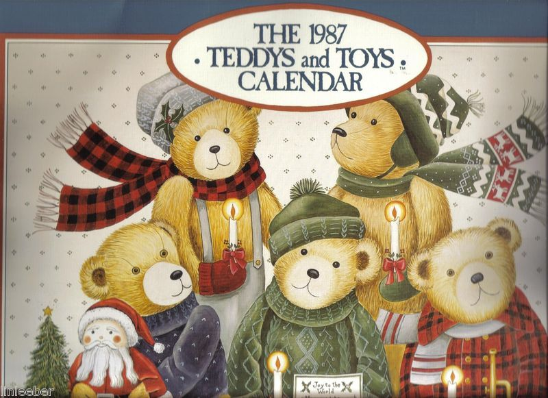 LANG Teddys and Toys 1987 Wall Calendar w/ illustrations- Nina Shower-FRAMEABLE!