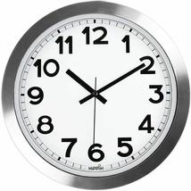"Silver Sheen Aluminum 12"" Wall Round Wall Clock, Silent Non-Ticking, Qua... - $19.69"