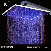 Cascada 10 Inch Ceiling Mount Square Rainfall LED Shower Head, Stainless Steel w - $178.15
