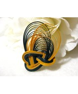 Vintage Bamboo Brooch/Pin Navy Blue & Buttersco... - $12.99