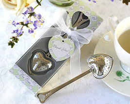 96 Tea Time Heart Shaped Tea Infuser Unique Wedding Favor in Gift Box wi... - $195.62