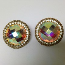 Vintage, Rare 1950s Star, Gold Tone, Iridescent Clip Earrings - $6.60