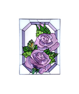 10x14 PURPLE ROSE Floral Stained Art Glass Suncatcher  - $45.00