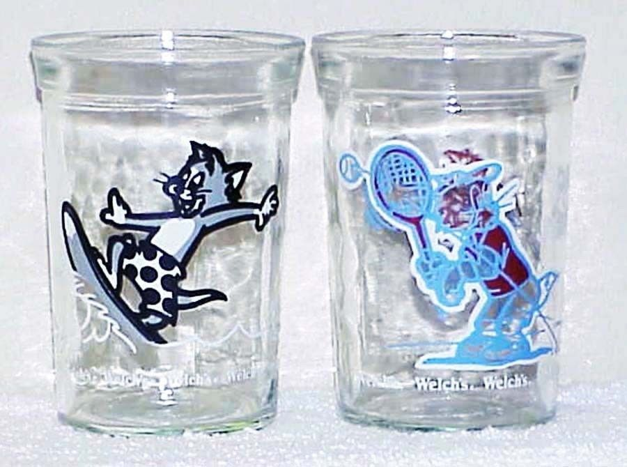 TOM and JERRY - 2 Vintage 1990/1991 Welch's Jelly Glasses - TENNIS & SURFING