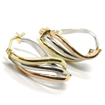 Earrings Circle Gold 750 18K, White Yellow Rose, Ovals, Wave, Wavy, 2.2 CM image 1