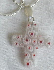 White with red flower morano Cross