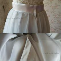 Lady GRAY Tulle Skirt A Line Full Pleated Gray Tea Skirts Custom Size NWT image 7
