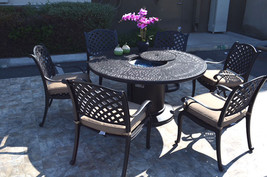 Propane fire pit table 7 pc Nassau patio dining set outdoor aluminum grills.  image 1