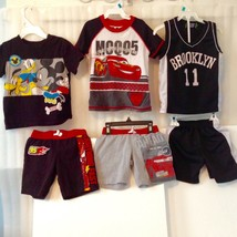 3 Baby Kids Size 2 T Red Black Blue Outfit T Shirt Short Pants Disney Vi... - $27.72