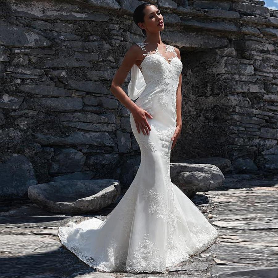 Jewel neckline natural waistline mermaid wedding dress lace applique open back bridal dress with