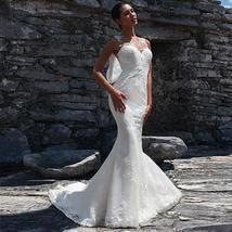 Charming Tulle Jewel Neckline Natural Waistline Mermaid Wedding Dress Lace Appli image 1