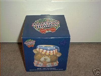 MERRY CHRISTMAS TEDDY TART BURNER NEW IN BOX! CERAMIC