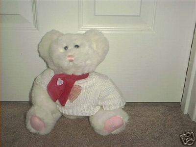 THE BABY PLACE ~WHITE BEAR PLUSH w/SWEATER EXC! 9 1/2""