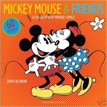 MICKEY MOUSE & FRIENDS 2008 WALL CALENDAR +60 STICKERS - $11.96