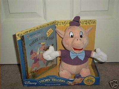 DISNEY STORY TELLERS THREE LITTLE PIGS PLUSH w/BOOK NEW