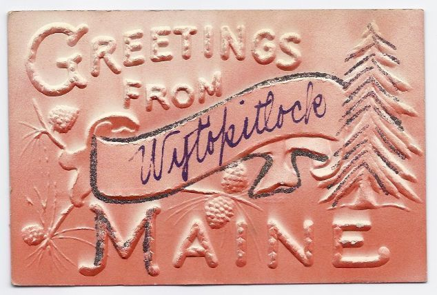 Primary image for c1940s - Greetings From Wytopitlock ME - Embossed - Rare  - Unused