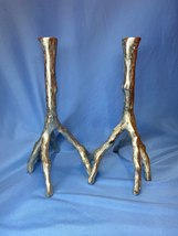 Pair Of Signed Michael Aram Enchanted Forest Branch Silvered Finish Candlesticks - $159.99