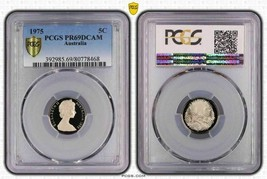 1975 AUSTRALIA 5 CENTS PCGS PR69DCAM PROOF COIN ONLY 4 GRADED HIGHER - $21.91