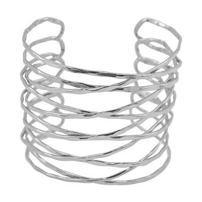 "Classic Karine Sultan ""Elise"" Minimalist Split Cuff Silver Cutout Bracelet"