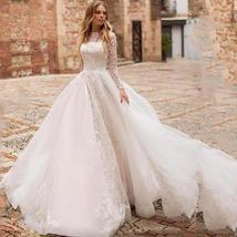 New Long Sleeve Lace Illusion A-Line Appliqued Princess Bridal Wedding Dress