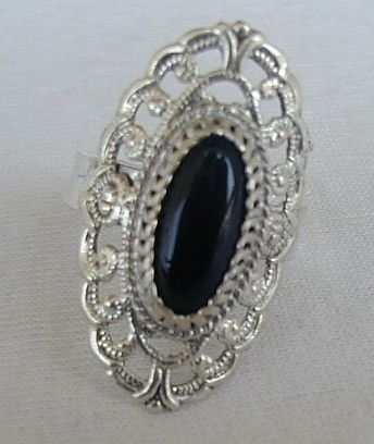 Primary image for Shiny silver ring with onyx