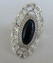 Shiny silver ring with onyx - $24.00