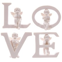 Set of 4 Angel Cherub LOVE Letters Ornaments Figures Valentines Mothers ... - $70.00